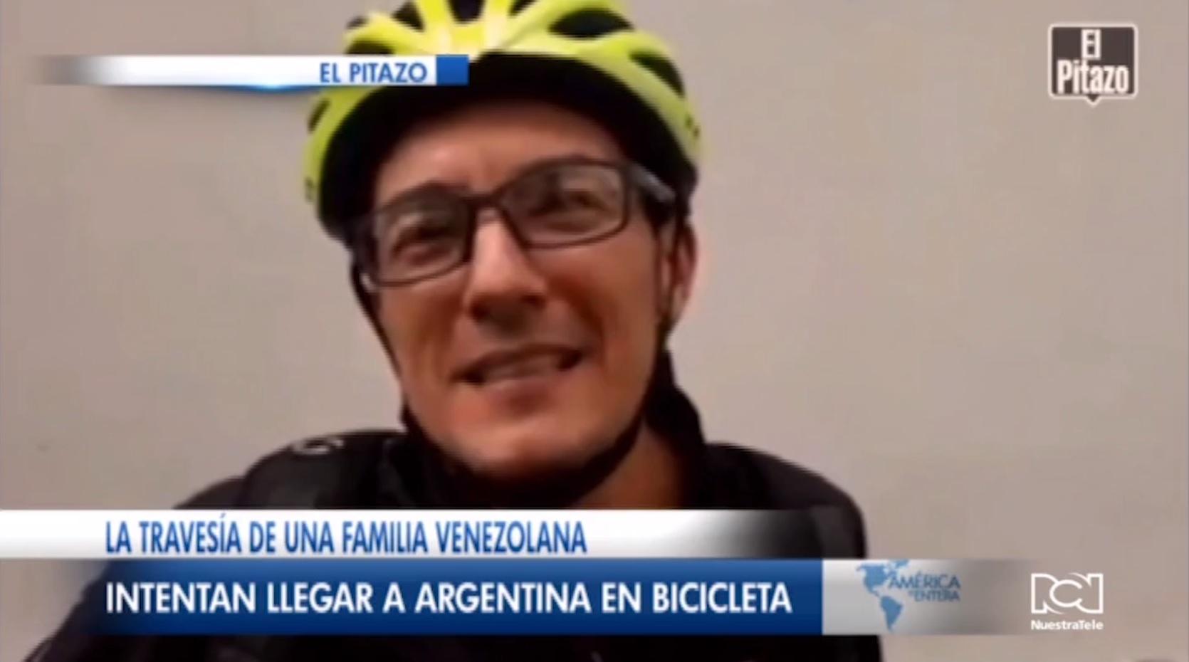Familia venezolana intenta llegar a Argentina en bicicleta