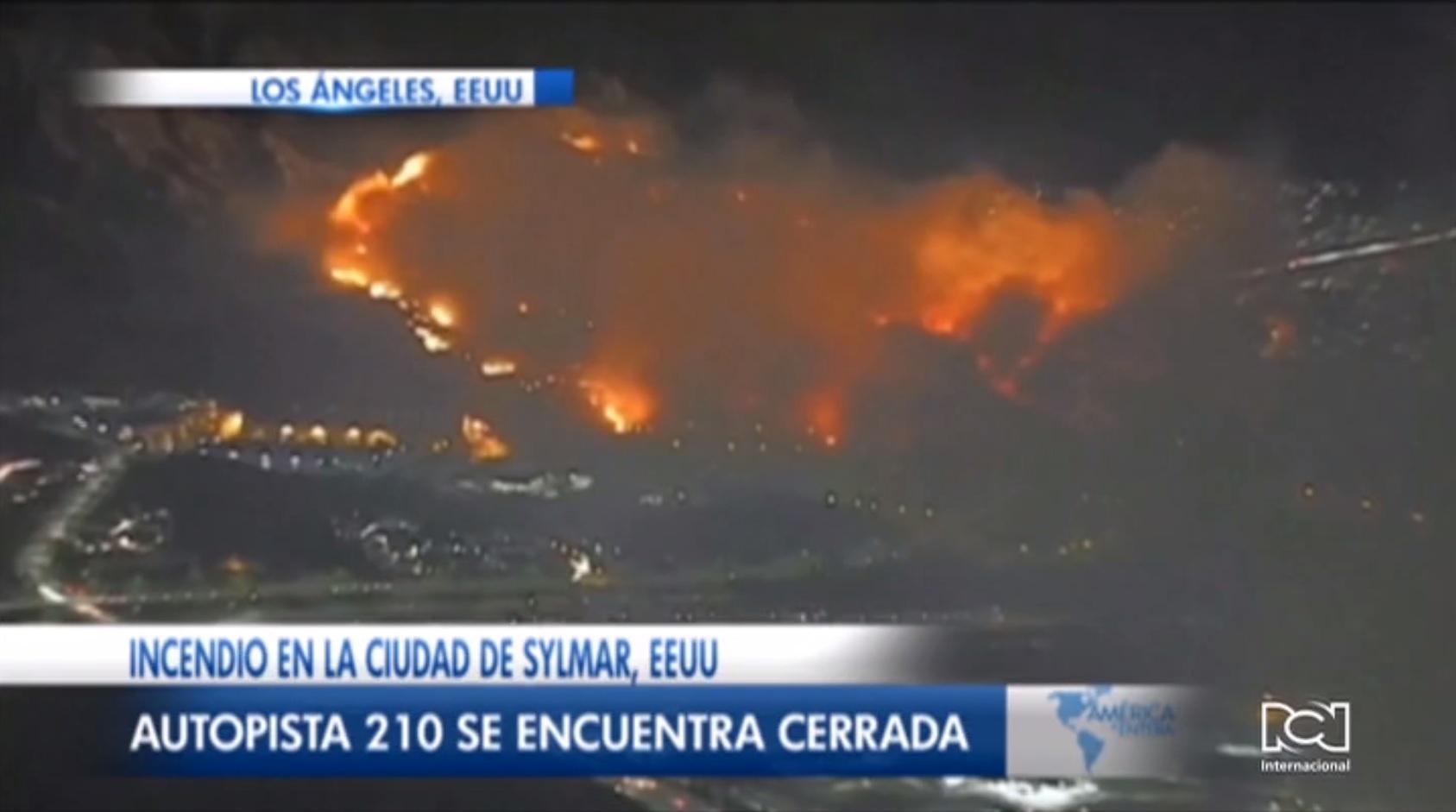 Declaran emergencia táctica en Sylmar, California, por voraz incendio forestal
