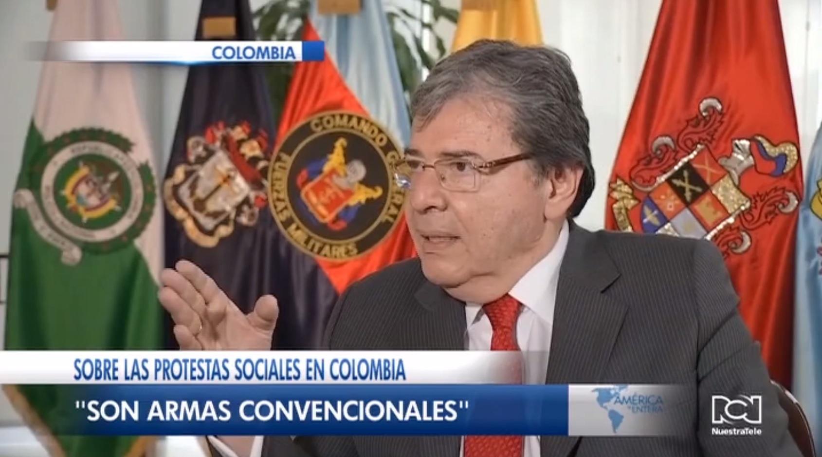 """""""Son armas convencionales"""": Ministro de Defensa de Colombia sobre caso Dilan Cruz"""