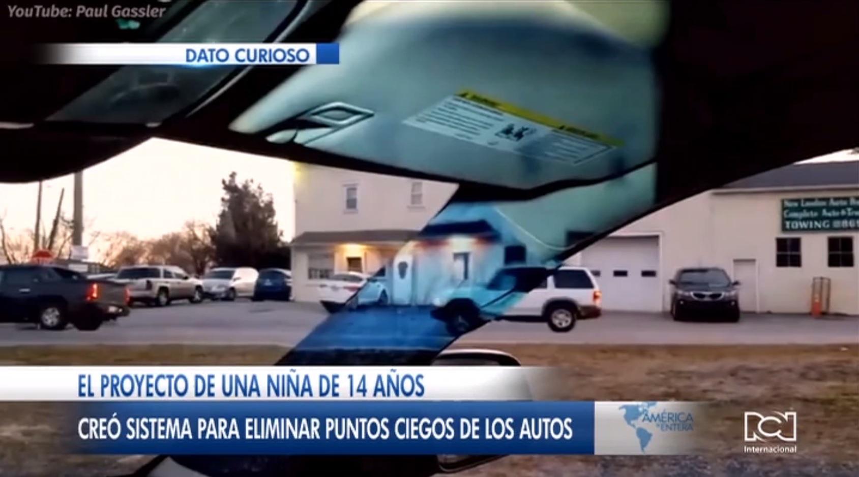 Adolescente de 14 años creó un sistema que permite eliminar los puntos ciegos de un automóvil