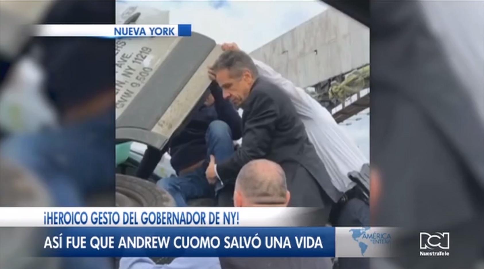 Gobernador de Nueva York rescata a un conductor atrapado en un camión tras sufrir un accidente automovilístico