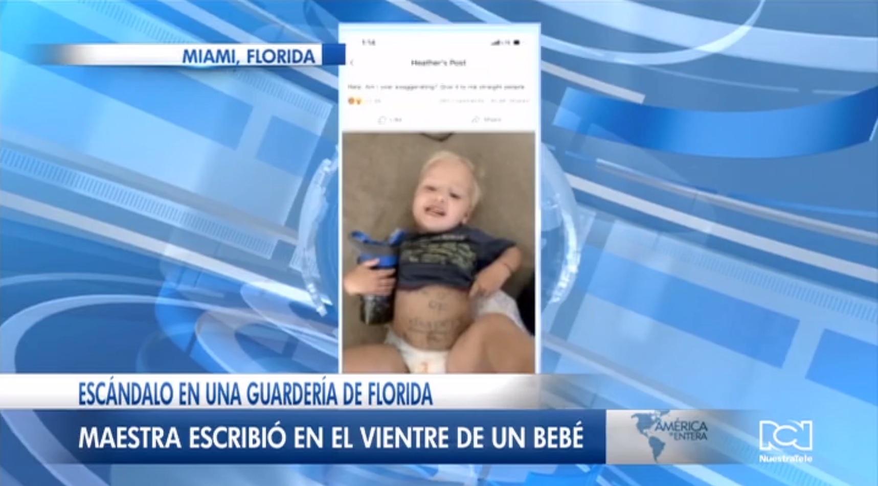 Indignación en Florida por actitud de maestra que uso el estómago de un bebé para enviarle una nota a la madre