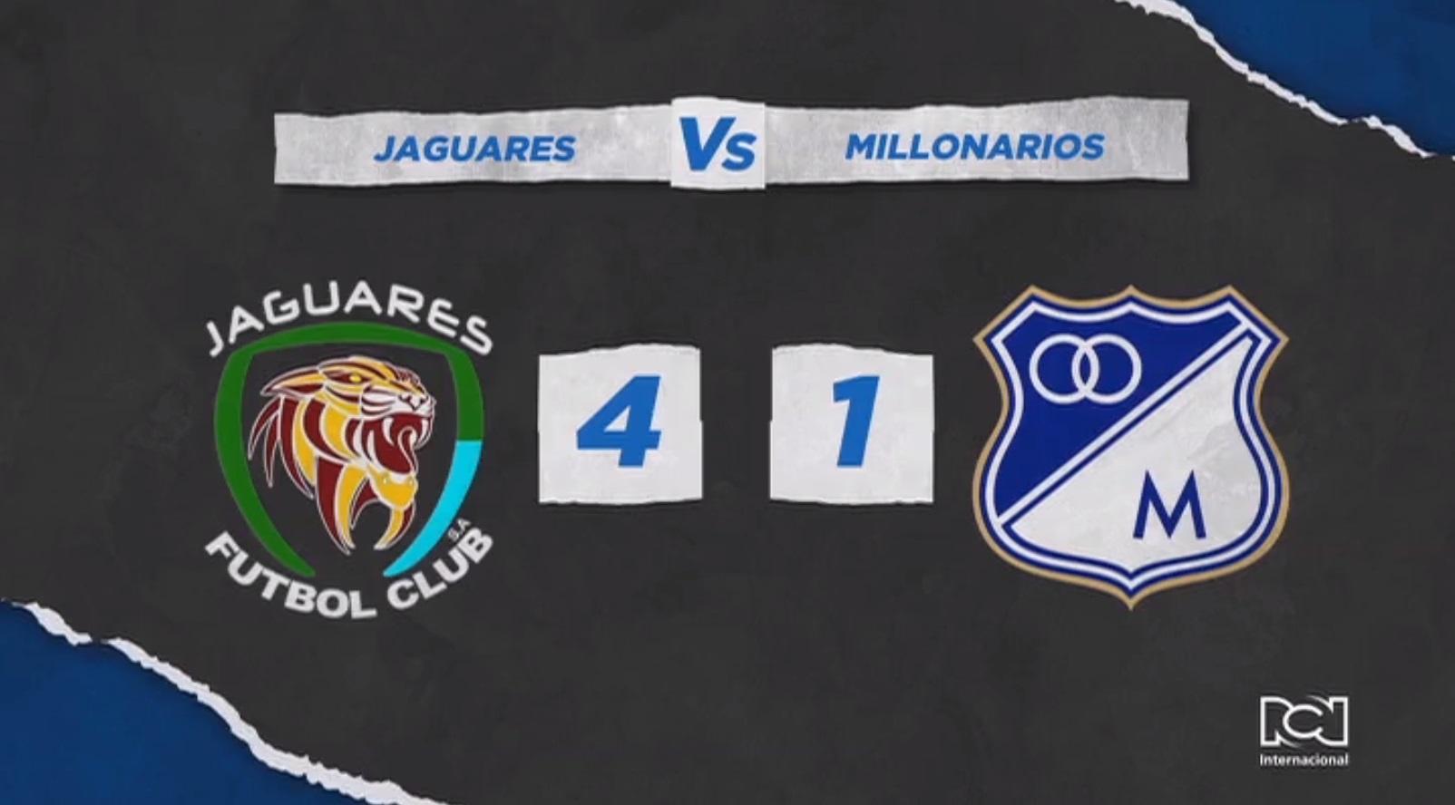 Millonarios cayó goleado por Jaguares y aumentó su sequía en Liga