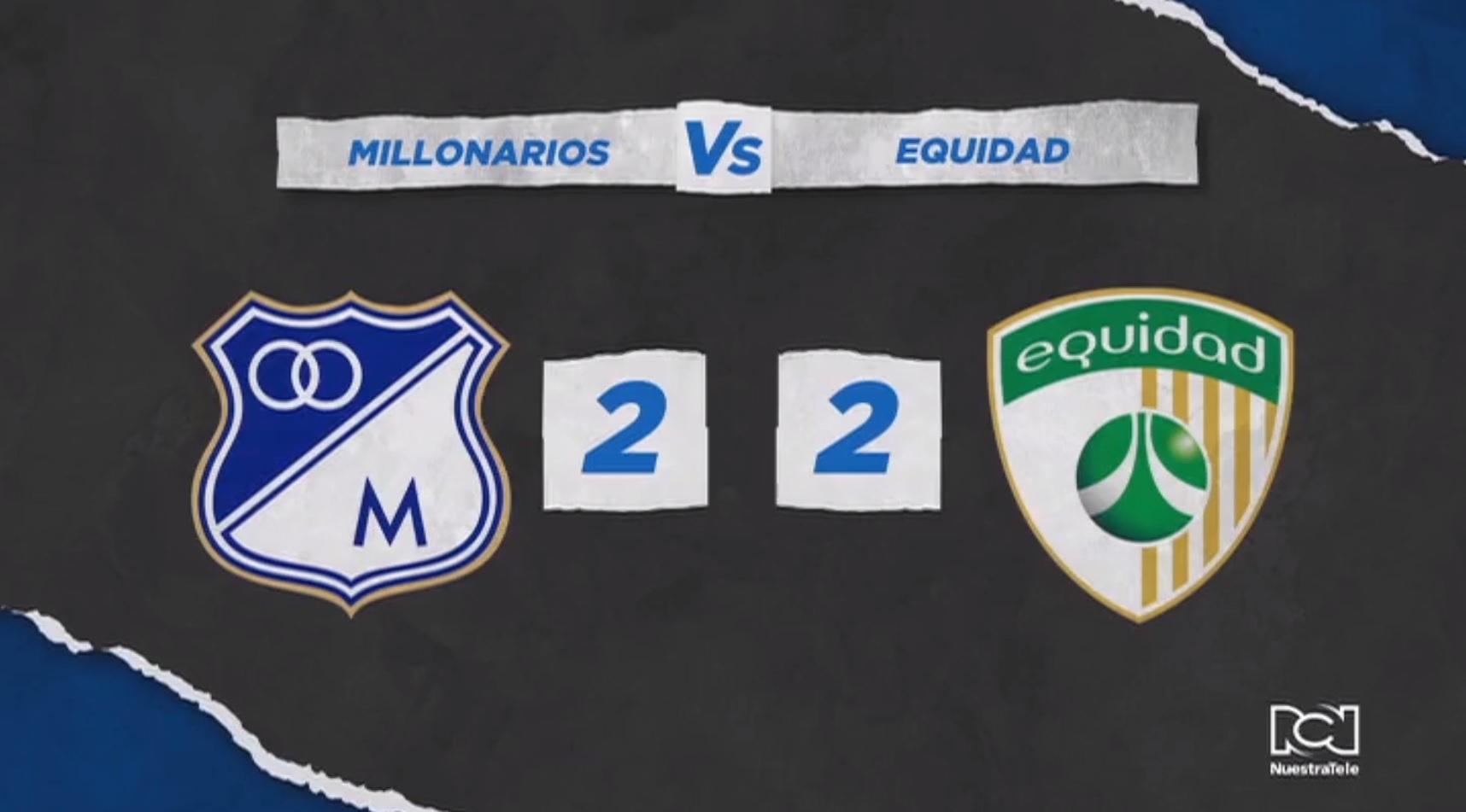 Millonarios no pudo con Equidad y empató su segundo partido de local en el campeonato