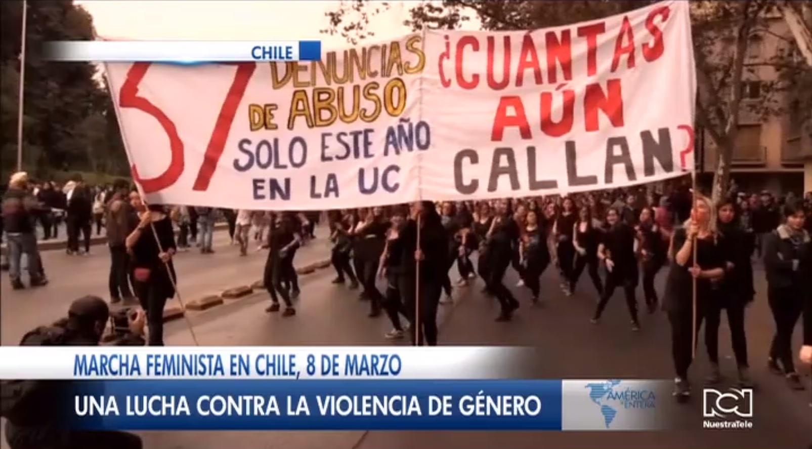 Colectivo feminista convocó marcha en Chile para apoyar la lucha contra la violencia de género