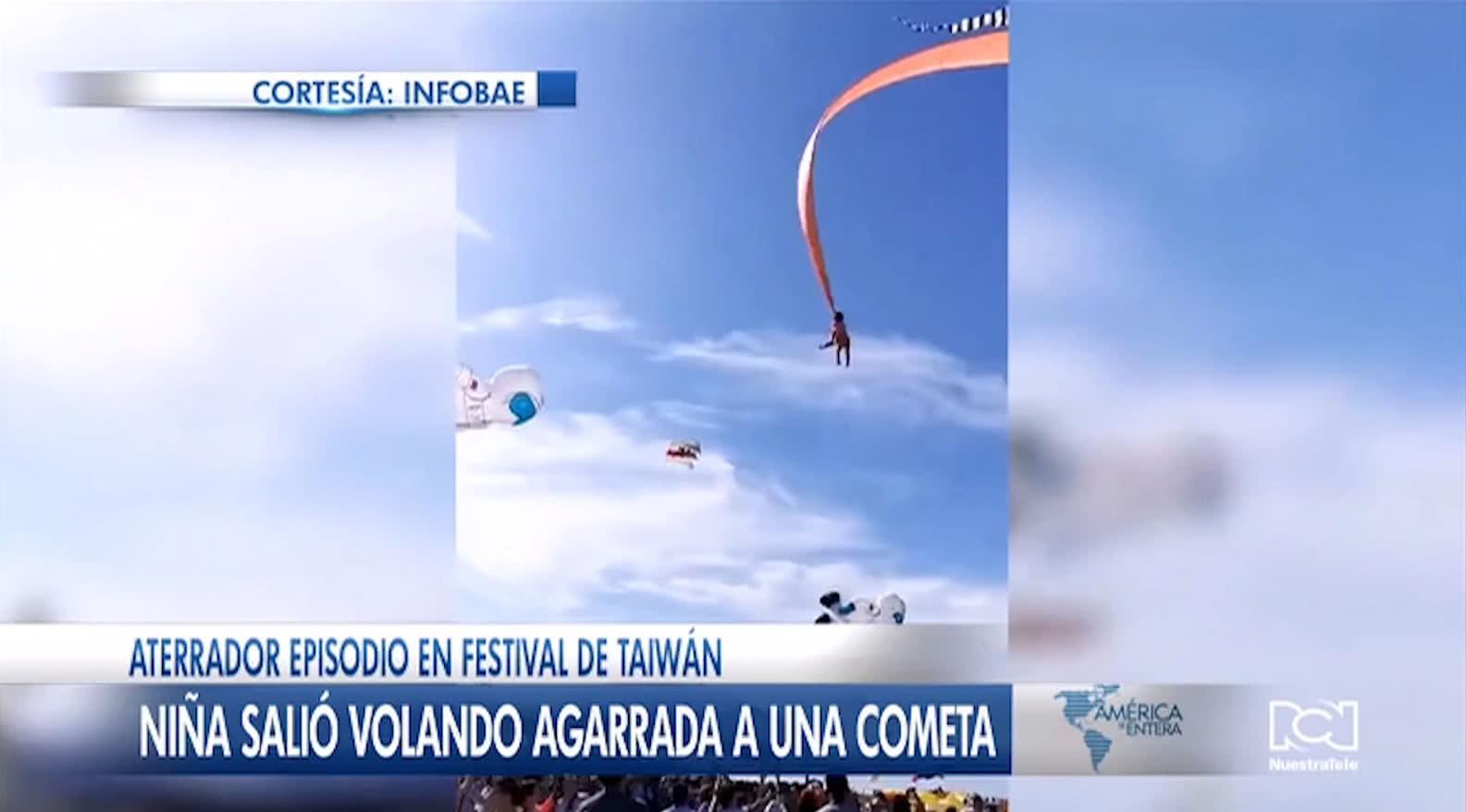 Niña voló por los aires tras quedar enredada en una cometa durante un festival en Taiwán