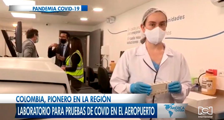 Laboratorio para pruebas de COVID en el aeropuerto El Dorado en Colombia