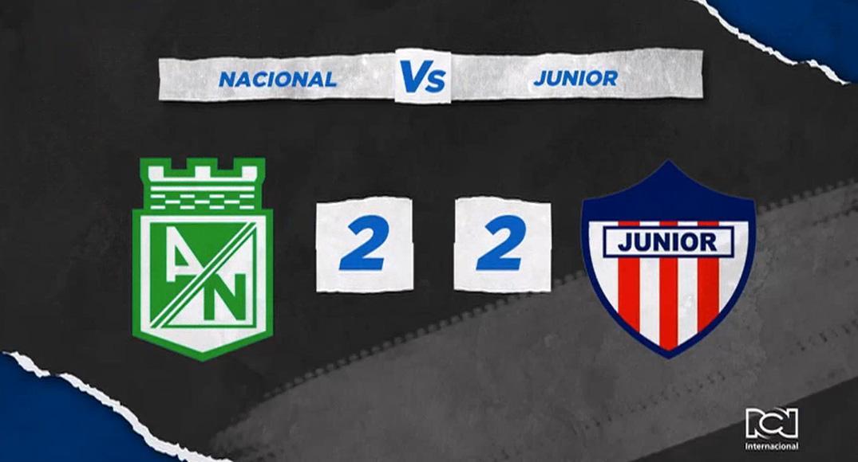 Nacional y Junior igualaron a dos goles en el Atanasio
