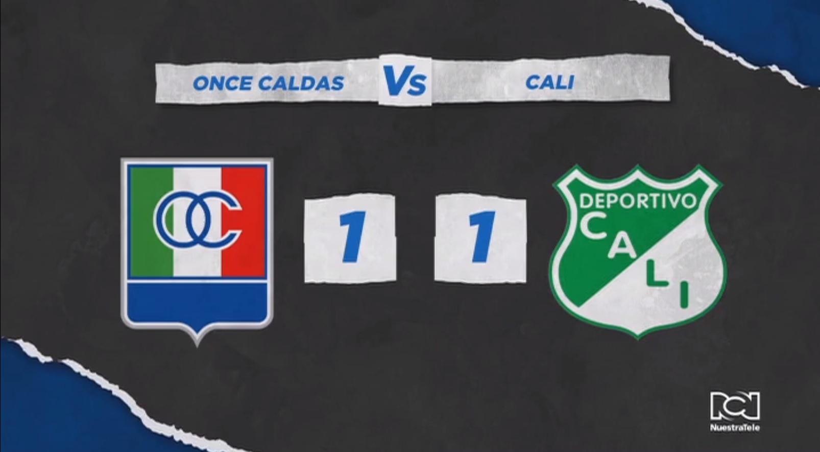 Once Caldas embolató la clasificación al empatar con Deportivo Cali en el Palogrande