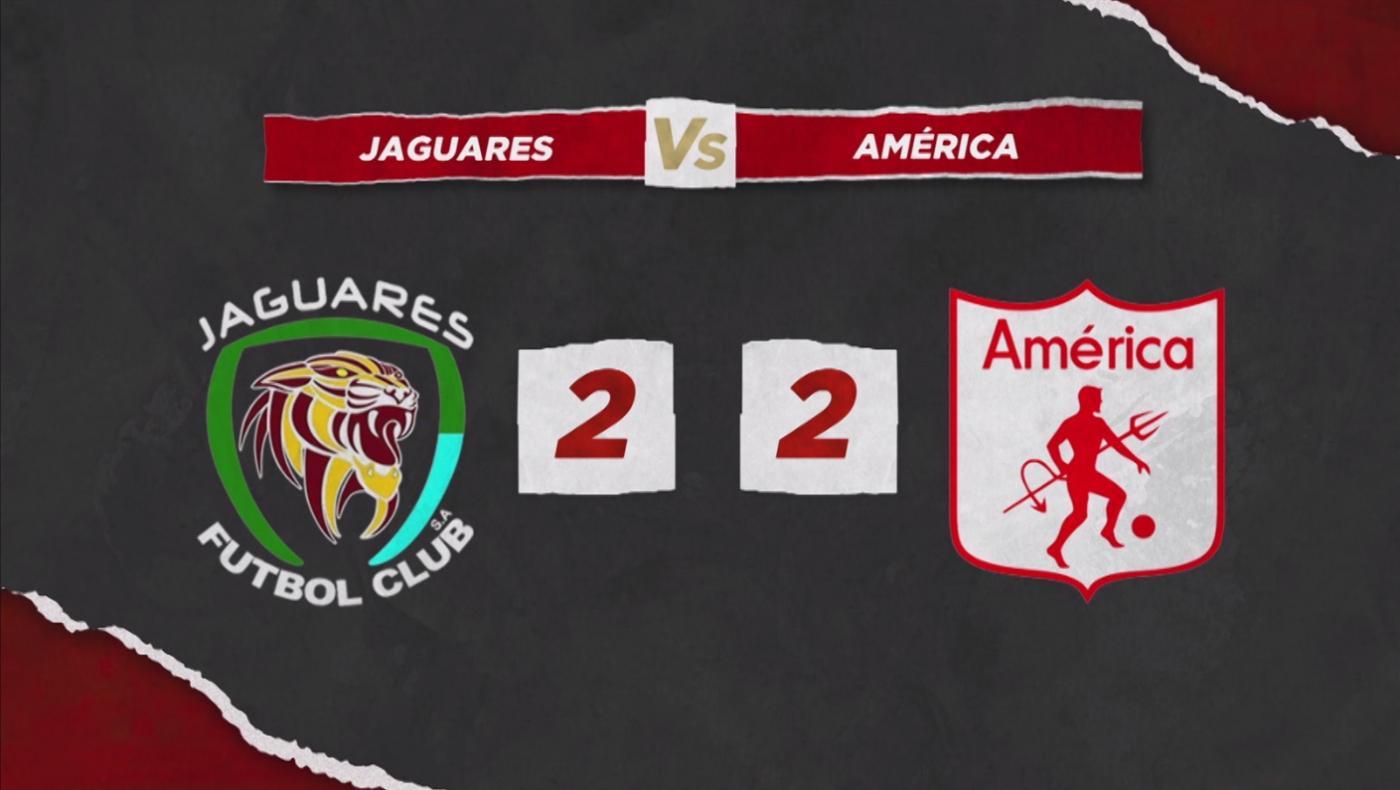 América aguantó y con nueve hombres sacó un empate en casa de Jaguares