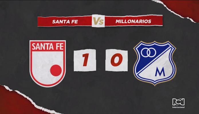 Santa Fe le ganó el clásico bogotano a Millonarios y salió del fondo de la tabla
