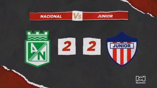 Atlético Nacional y Atlético Junior no se sacaron diferencia y empataron en un vibrante partido