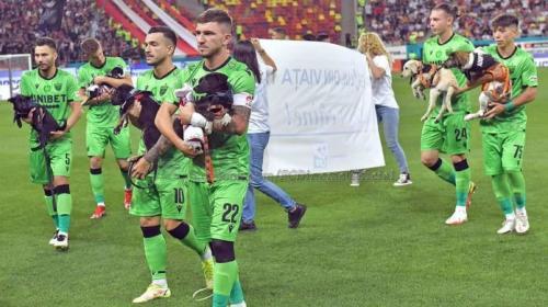 ¡Con perros en brazos! La noble causa que apoyará la liga de fútbol de Rumania