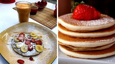 Pancakes de banano y avena.