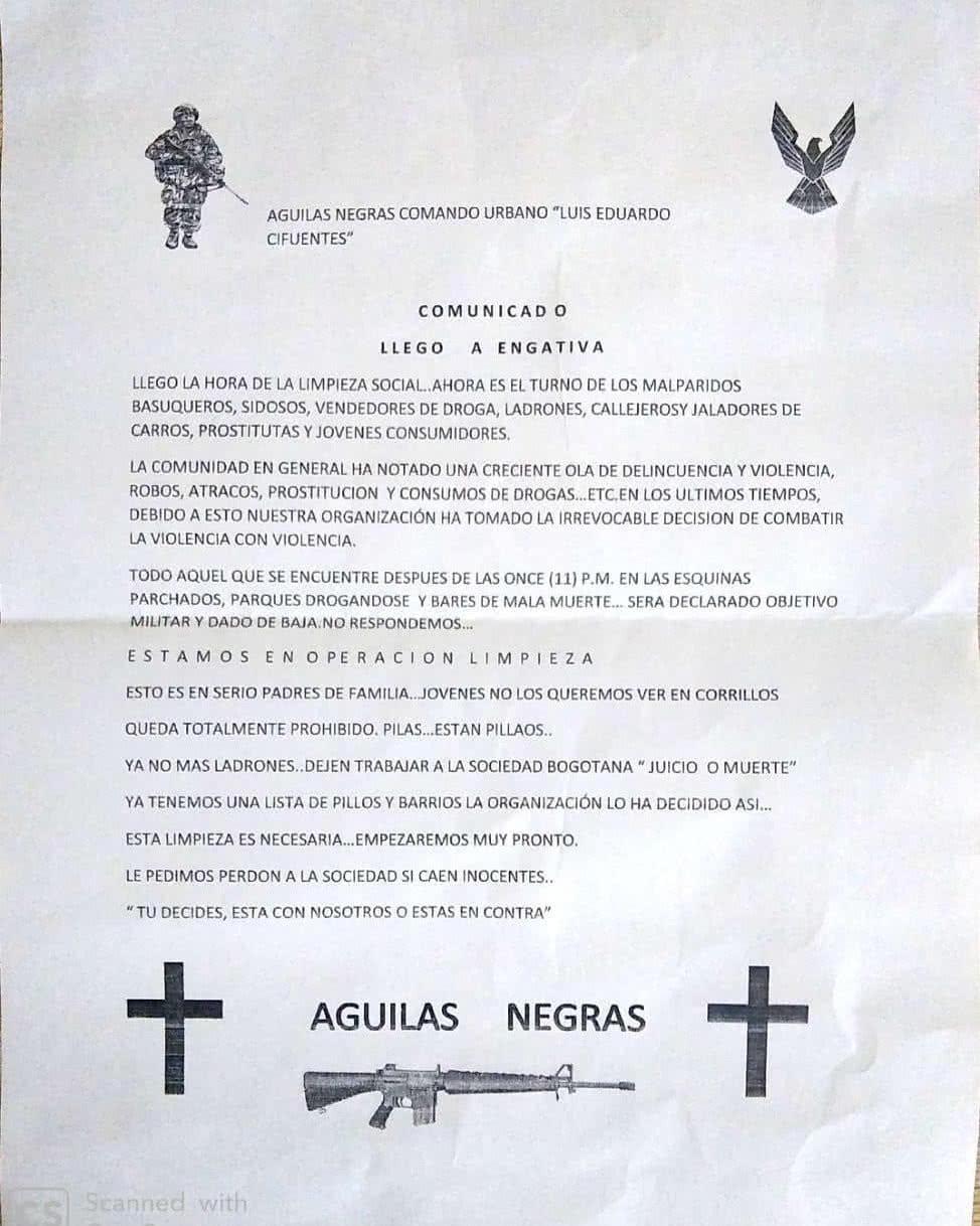 Panfleto Águilas Negras