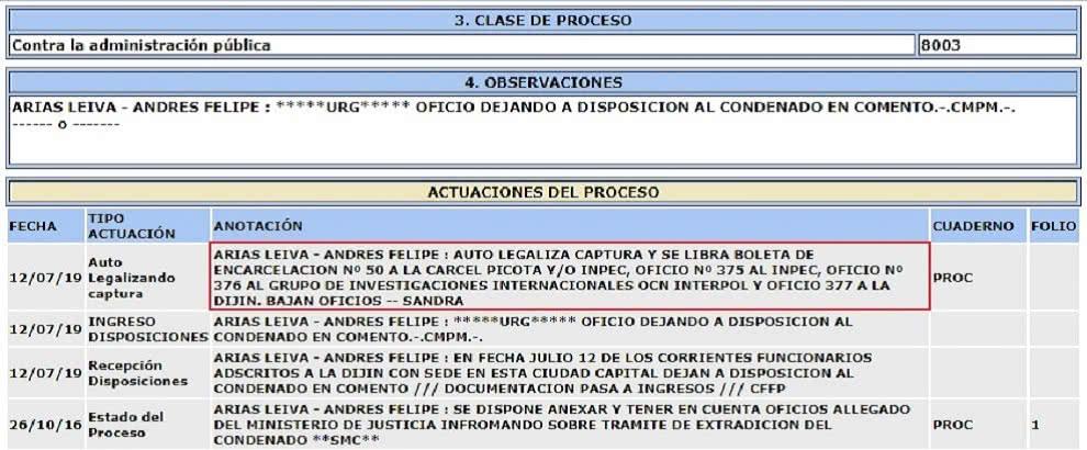 Ordenan traslado de Andrés Felipe Arias a la cárcel La Picota