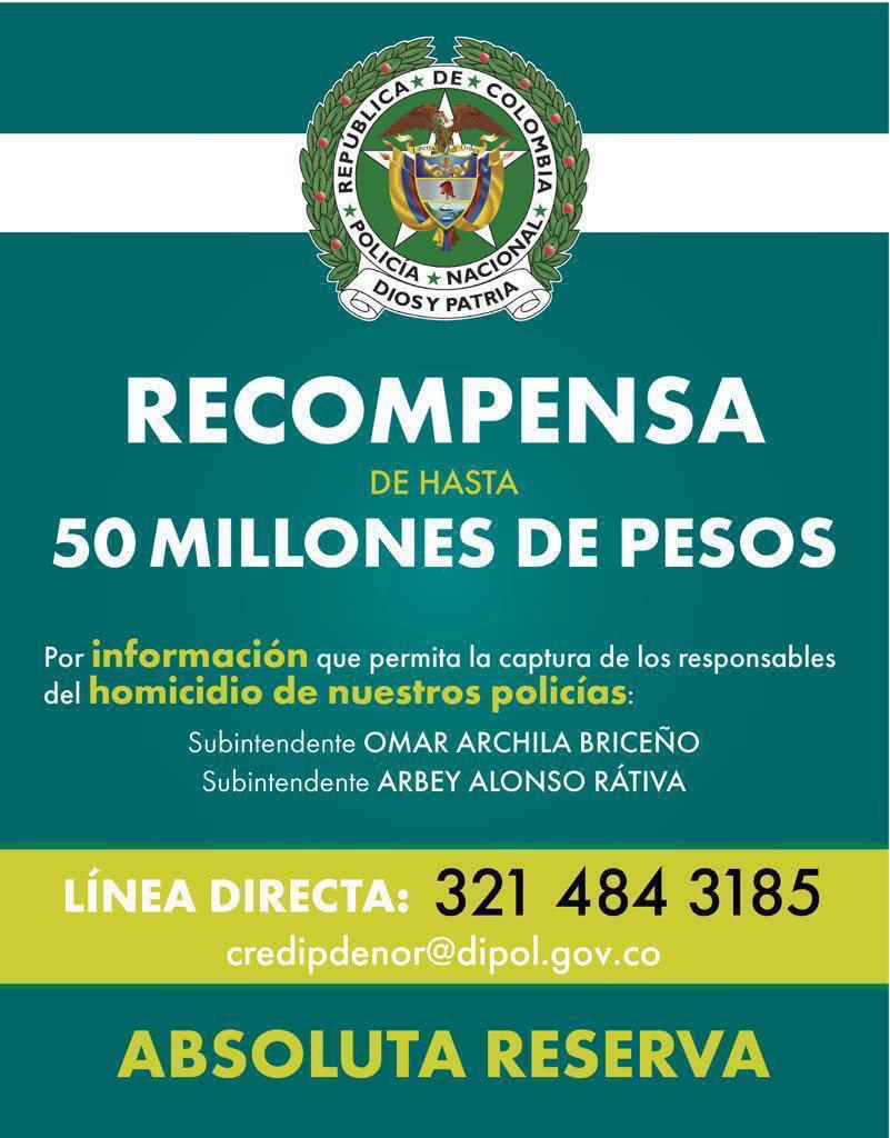 Millonaria recompensa por asesinos de dos policías en Ocaña, Norte de Santander