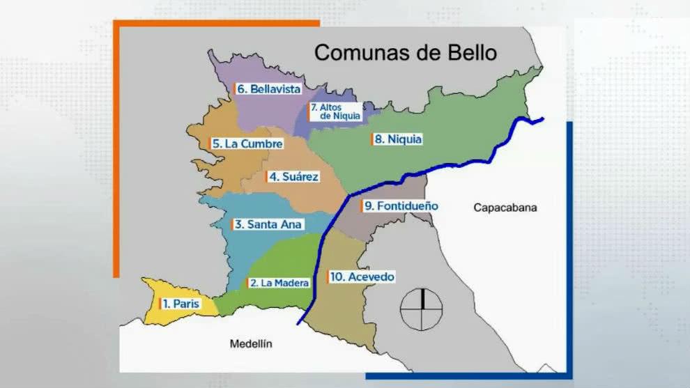 Mapa bandas criminales en Bello