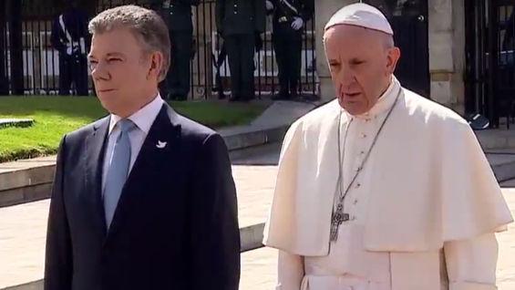 El presidente Juan Manuel Santos y el papa Francisco.