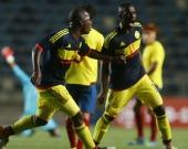 Los goles de Colombia los marcaron Juan Peñaloza de penal a los 38 minutos, Santiago Barrero (49) y Jaminton Campaz (64). Foto: EFE