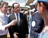 Los presidentes Juan Manuel Santos y François Hollande en Caldono (Cauca). Foto: AFP