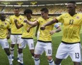 Jugadores de la Selección Colombia celebran después de anotar contra Bolivia durante partido de la eliminatoria sudamericana rumbo al Mundial de Rusia-2018. Foto: AFP.