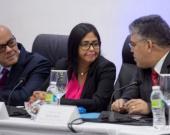 Los miembros del Gobierno venezolano que se encuentran en República Dominicana. Foto: AFP