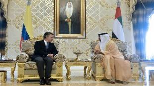 Foto: Presidente Juan Manuel Santos y el Príncipe Heredero de Abu Dhabi, Sheikh Mohammed bin Zayed Al Nahyan / Presidencia.