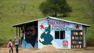 Biblioteca ubicada en espacio de reincorporación. Foto: Raúl Arboleda/AFP