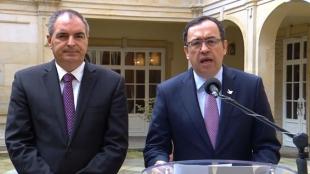 El ministro de Agricultura, Aurelio Iragorri, y el secretario general de la Presidencia, Alfonso Prada.