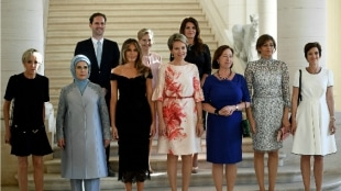 Esposo, primer ministro, Luxemburgo, roba, atención, foto, primeras damas,