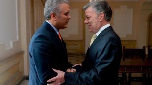 Iván Duque y Juan Manuel Santos se reúnen en la Casa de Nariño. Foto: Presidencia