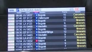 Foto: Los viajeros de trayectos nacionales han sido los más afectados. Foto:Captura de vídeo NoticiasRCN