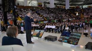 Durante un discurso frente a estudiantes, Santos se mostró optimista sobre eventuales acuerdos. Foto. Presidencia