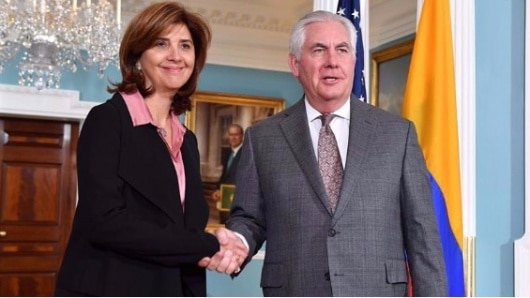 La canciller de Colombia se reunió con Tillerson para afinar cooperación