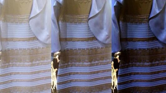Vestido blanco y dorado azul y negro