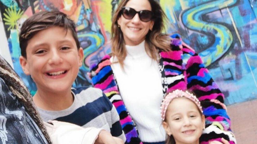 Chichila Navia y sus hijos, Matías y María.