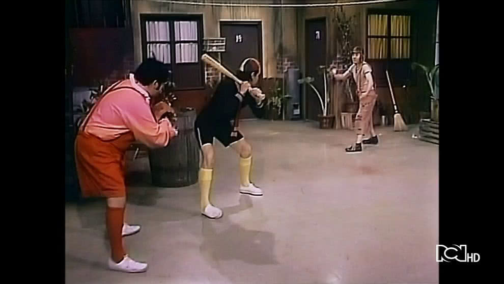El chavo juega béisbol con Kiko y Ñoño