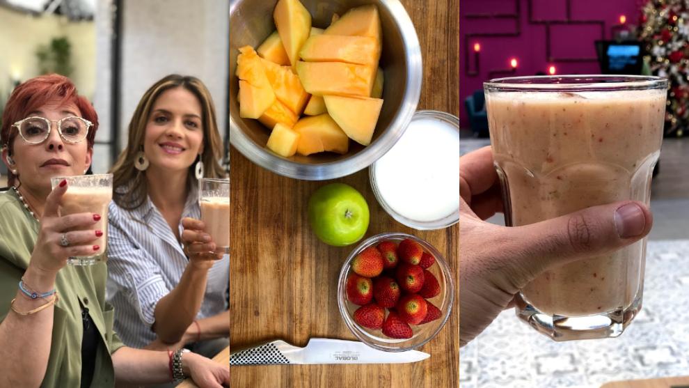 Batido del día: fresa, melón, manzana y yogurt