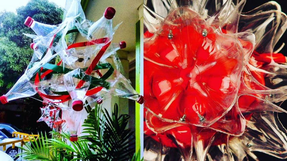 Aprende a hacer lámparas y faroles con botellas plásticas para Navidad
