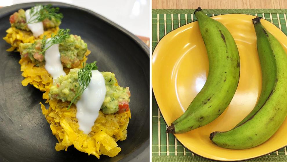 Nidos de patacón con suero costeño y guacamole