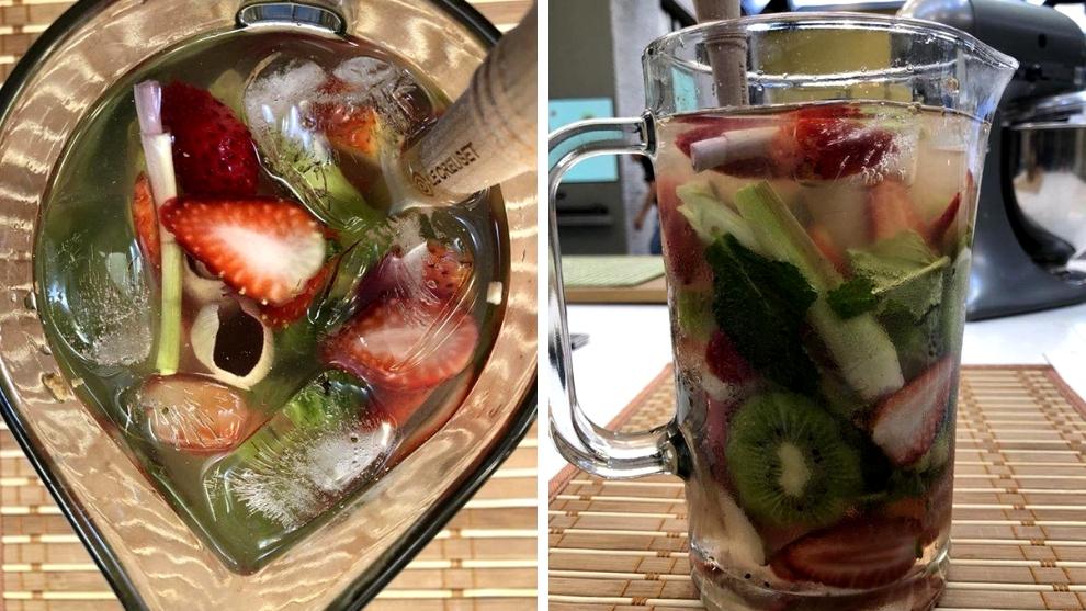 agua refrescante de fresas y kiwi