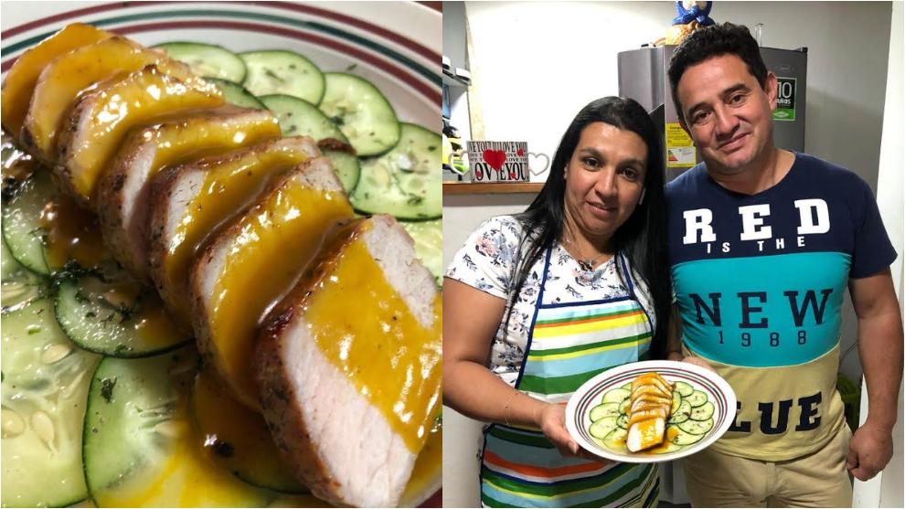 Arrocito en Bajo: lomo de cerdo en salsa de maracuyá