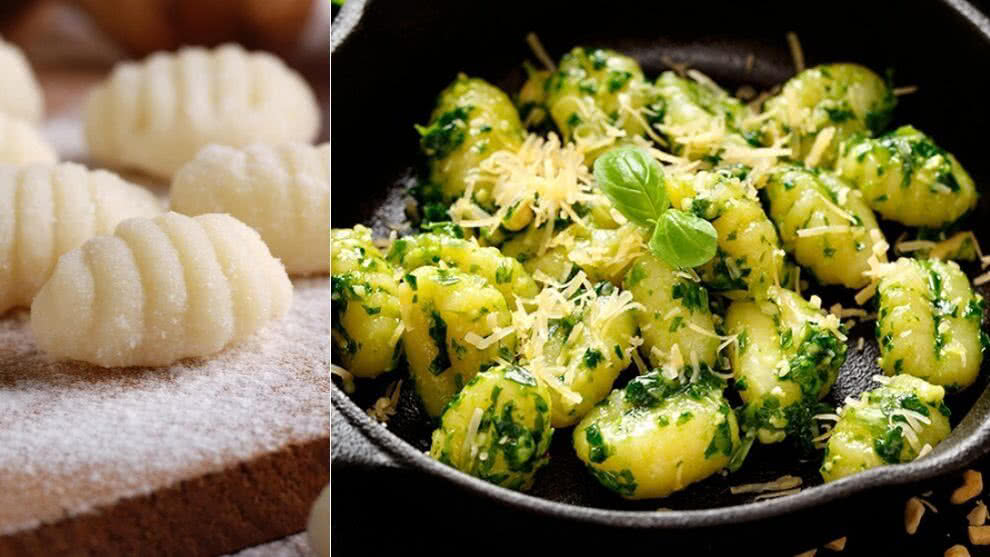 Receta: ñoquis de papa con crema de pesto y parmesano