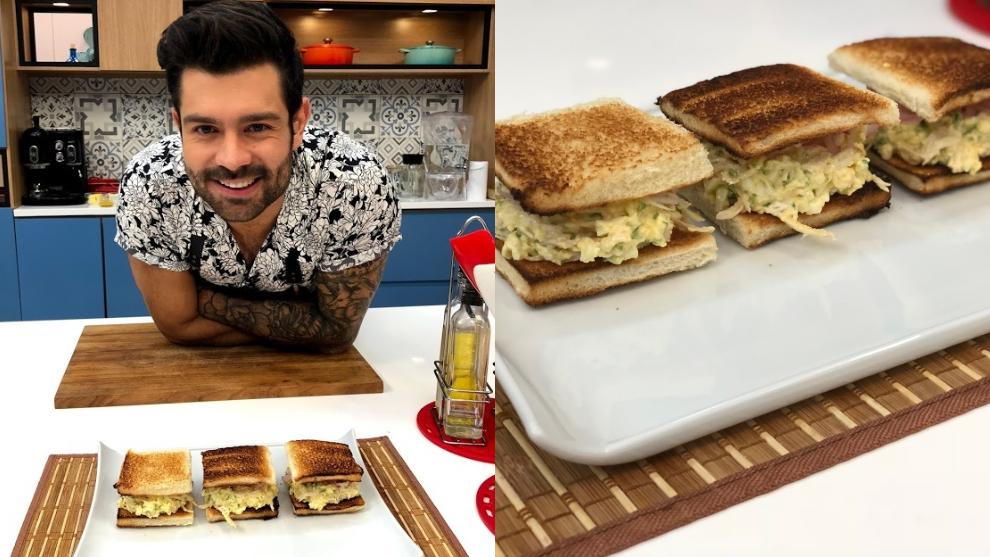 Receta: sándwich de huevo con pollo y salsa de perejil