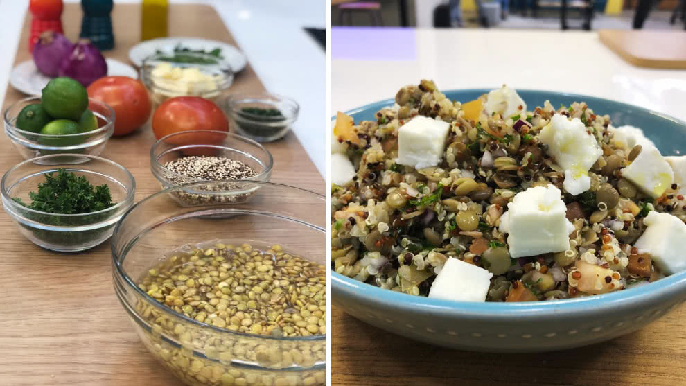 Receta de ensalada de lentejas con quinoa