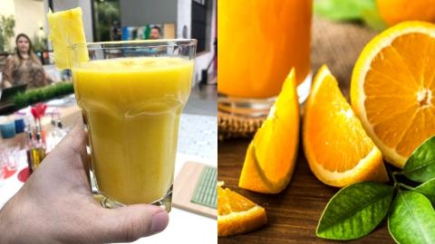 Zumo de frutas amarillas: naranja, piña y mango