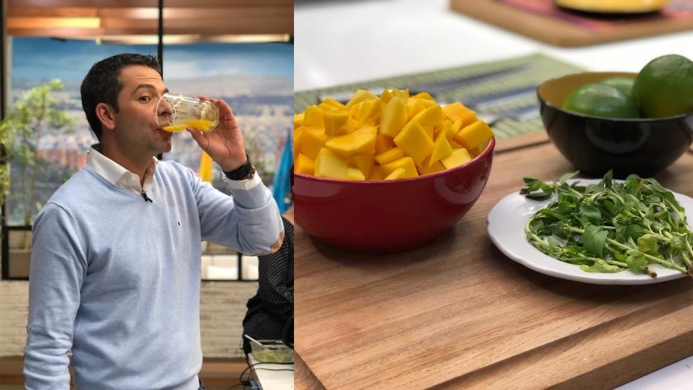 Zumo antioxidante: limón, mango y menta