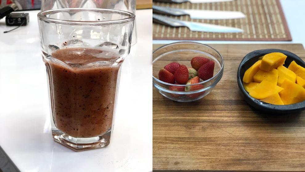 Zumo de vitamina C: mango, arándano y fresa