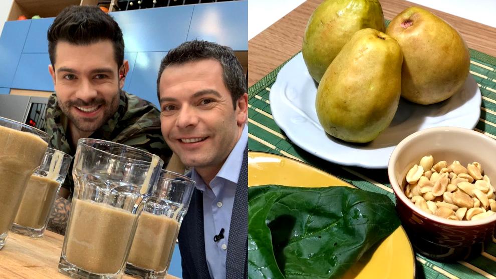 Zumo del día: guayaba, hojas de espinaca y maní